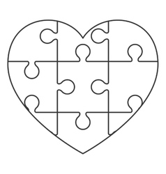 Heart in puzzle pieces icon vector