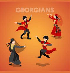 Isometric georgian people in traditional clothes vector
