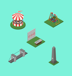isometric urban set of aiming game seesaw vector image