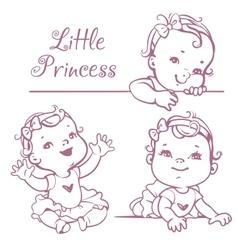 Little baby girl set vector image vector image