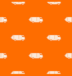 Log truck with the pile of logs pattern seamless vector