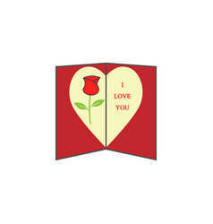 Love card with rose solid icon valentines day vector