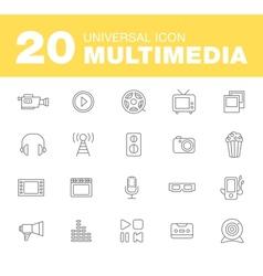 Media or multimedia icon set vector image vector image