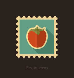Persimmon flat stamp tropical fruit vector