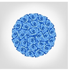 Round from blue rose greeting invitation card vector
