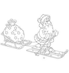 Santa with his toy bag vector