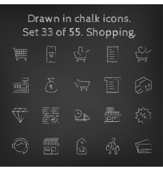 Shopping icon set drawn in chalk vector image