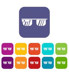 Smart glasses icons set vector