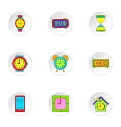 Time dimension icons set cartoon style vector