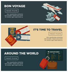 travel and world trip banners flat design vector image