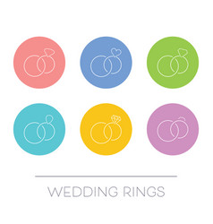White thin line wedding rings vector