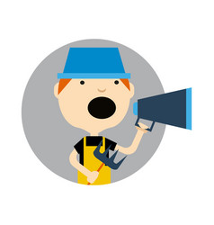 young boy in hat with megaphone icon vector image