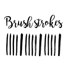 Black ink hand drawn paintbrush brush set vector