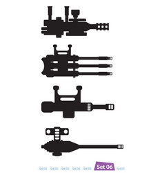 Set of spaceship weapons silhouette six vector