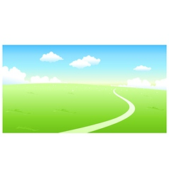 Curved path over green landscape vector