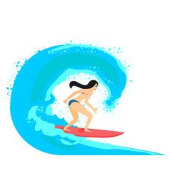 Ilustration of beautiful brunette surfer vector
