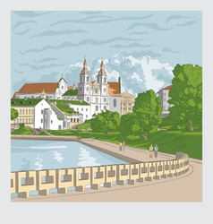 Cityscape with church and river trinity suburb min vector