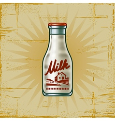 Retro milk bottle vector