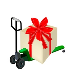 Pallet truck loading a big gift box vector