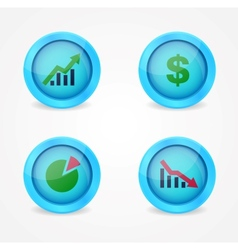 Financial signs on glossy icons vector