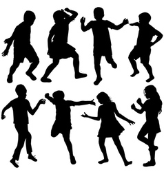 Set of active children silhouettes vector