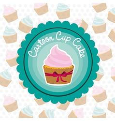 basic cupcake label on bottom of cupcake pattern vector image