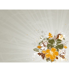 Bouquet of hibiscus on beige background vector