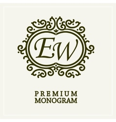 Stylish graceful monogram two letters vector