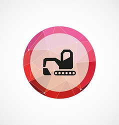 Excavator circle pink triangle background icon vector