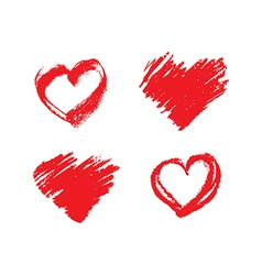 Set of hand drawn grunge red hearts vector