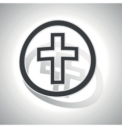 Christian cross sign sticker curved vector