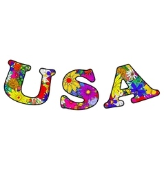 Letters usa made of flowers vector