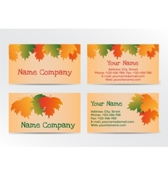 Autumn business cadrs with colorful leaves vector