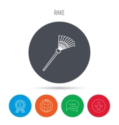 Rake icon gardening equipment sign vector
