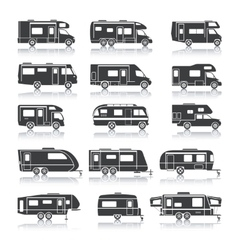 Recreational vehicle black icons vector