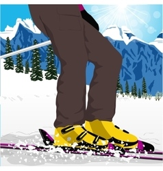 Womans legs in ski boots with spray of snow vector