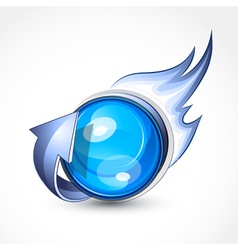 blue ball with flames vector image