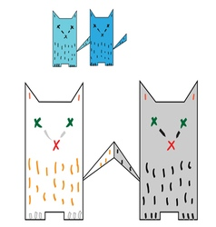 Four colorful cat tails are touching vector