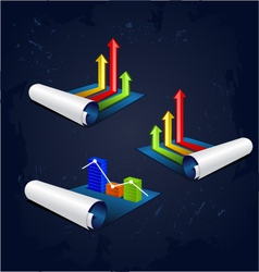 Roll of blue paper with colorful graph vector