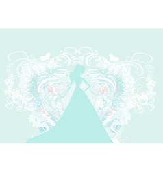 Abstract beautiful floral bride silhouette vector