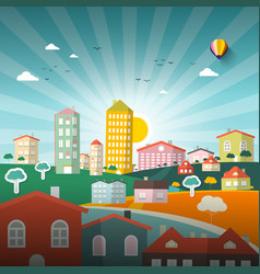 Abstract city flat design town vector