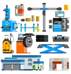 Auto service flat decorative icons set vector