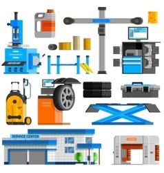 Auto service flat decorative icons set vector
