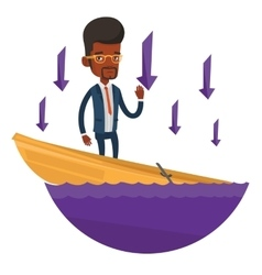 Business man standing in sinking boat vector