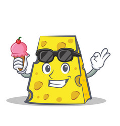 Cheese character cartoon style with ice cream vector