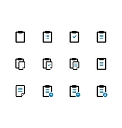Clipboard duotone icons on white background vector