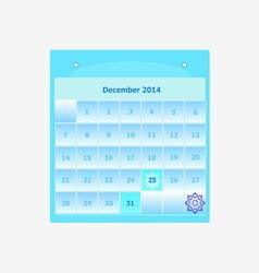 Design schedule monthly december 2014 calendar vector image vector image