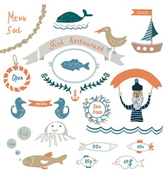 Fish restaurant invitation or menu elements - vector image vector image