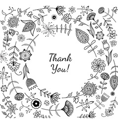 Freehand drawing thank you response card vector