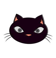 funny black cat head vector image